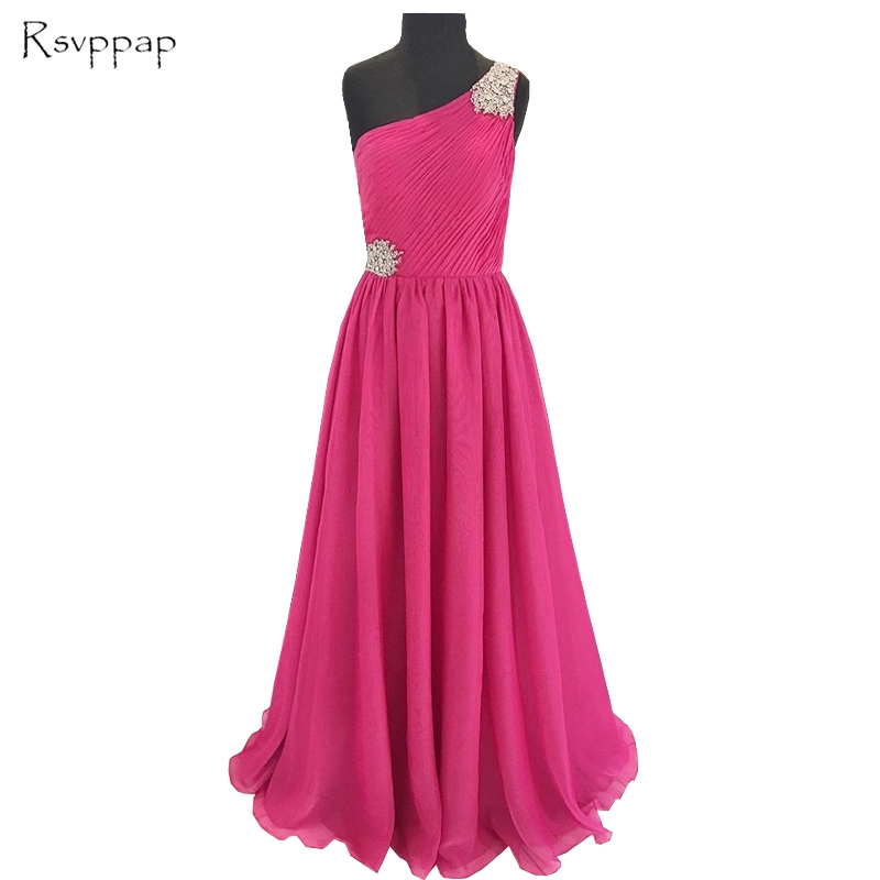 Long Evening Dress 2019 Gorgeous One Shoulder Sheer Back Beaded Crystals Hot Pink Chiffon Special Occasion Dresses