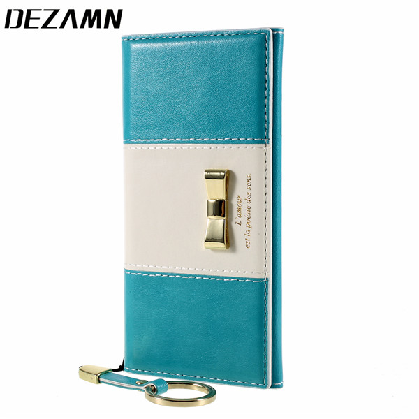 Card Slot + Finger Ring Leather Case For iPhone 6 s 7 8 Plus Cute Bow-knot Logo Phone Cover Magnetic Flip Mobile Accessories Bag