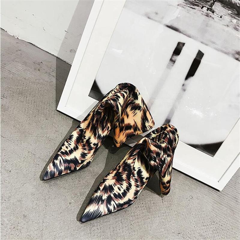 Classique Bottes Leopard Slip Bout Mince Sur Mode Cheville Nouvelle Pointu De Outwear Léopard Femmes Haute Hiver Talons Chaussures Courtes Arrivée PgwzqXRH8