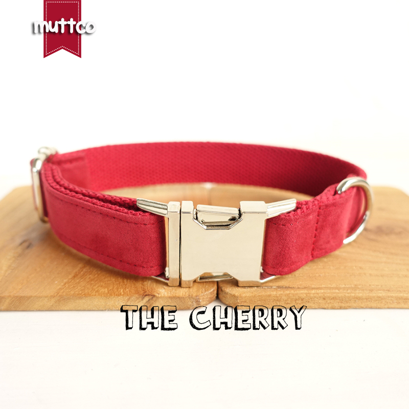 20pcs/lot MUTTCO wholesale self-design handmade comfortable special collar THE CHERRY red soft dog collars leashes 5sizes UDC020