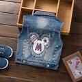 Coletes À Prova de crianças 2015 Moda Outono Novos Meninos Meninas Casual Denim Coletes Crianças Coletes Bebê Crianças Outerwear