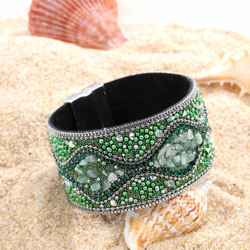 Fashion Beads Silver Clasp Chakra Bracelet Jewelry Handmade Multi Color Natural Stone Beads Leather Wrap Bracelets Bangles