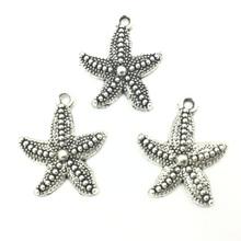 10Pcs Pendants Silver Tone Starfish Animal Metal Fashion Jewelry DIY Findings Charms 23x19mm