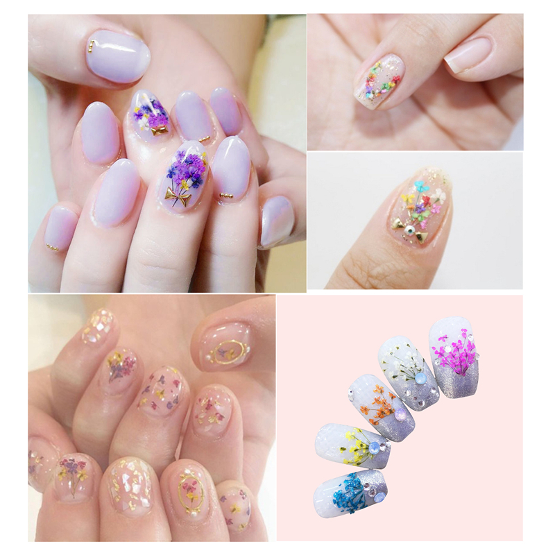 30PCS Bag 3D Dried Flowers Leaf Nail Decoration Natural Floral Sticker Beauty Nail Art Decals Jewelry UV Gel Polish Manicure in Rhinestones Decorations from Beauty Health