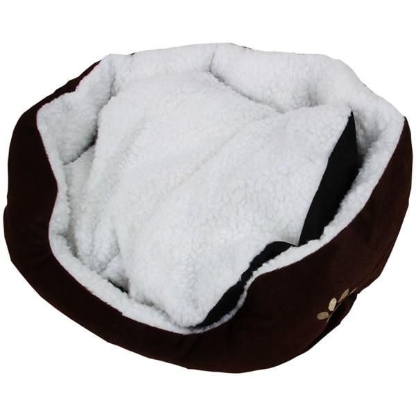 Роскошные уникальные теплые домашние мягкая собака кошка кровать + подушка собака щенок диван Дом кровать с мат поставки L коричневый