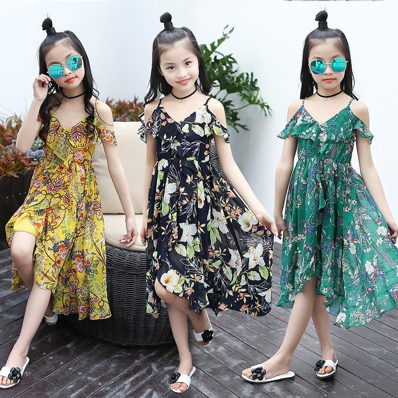 Dziewczęta Dzieci Lato Szyfon Asymmetrcal Szyfon Ubrania Dla - Ubrania dziecięce - Zdjęcie 2