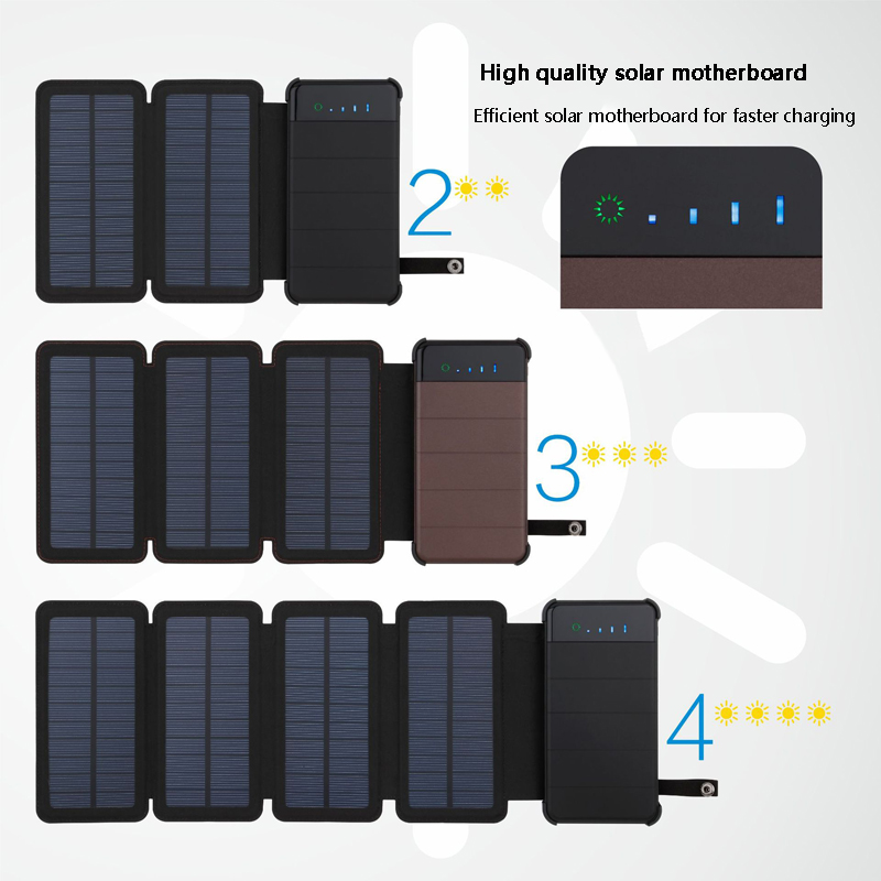 20000mAh  Waterproof solar power bank Solar Charger External Battery Backup Pack For cell phone Tablets For iphone Random color-in Power Bank from Cellphones & Telecommunications