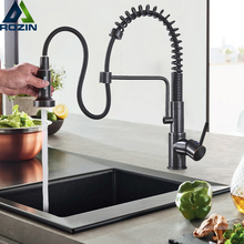 Newly Pull Out Kitchen Sink Faucet Deck Mounted Spring Swive Spout Kitchen Washing Taps with Handsprayer Bracket Hot Cold Faucet
