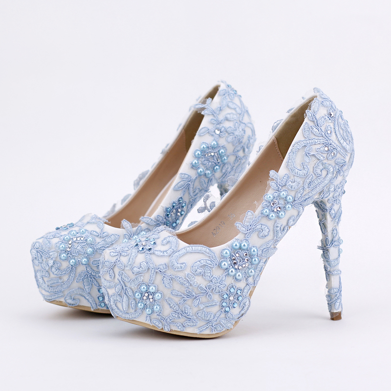 Blue lace flowers shoe bridal wedding shoe round toe fashion women's platform shoes  lace heel PUMPS free shipping