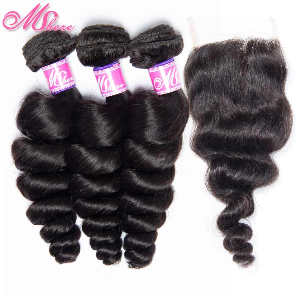 Brazilian Hair Weave Human Hair Bundles With Closure Loose Wave Hair Lace Closure With Bundles Mshere