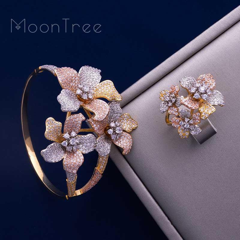 все цены на MoonTree Flower Leaf Fashion Luxury 3 Tone Full Cubic Zirconia Women Wedding Ceremony Bracelet Bangle Ring Set