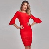 Бандажное платье Для женщин цвета — красный, синий, черный элегантный Slash шеи с длинным рукавом Bodycon пикантные Клубные вечерние платье Fashion