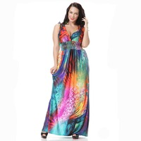 Summer Colorful Feather Dresses Women Plus Sizes V Back Low Cut Print Long Beach Dress For