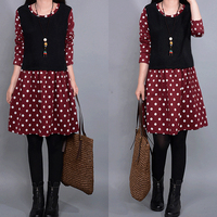 Winter Warm Thickening Plus Velvet Point Stitch Dress Female A2033