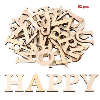 52 sztuk zestaw numery Scrapbooking mieszane litery alfabetu strona sztuka i rękodzieło drewniane litery dekoracji edukacyjne domu Patchwork Handmade tanie i dobre opinie HOUSEEN Drewna