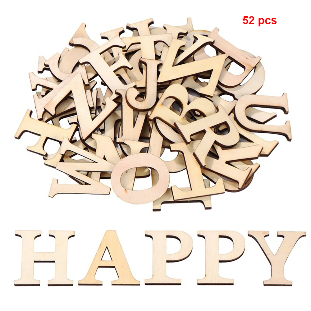 52Pcs/Set Numbers Scrapbooking Mixed Alphabet Party Arts Crafts Wooden Letters Decoration Educational Home Patchwork Handmade