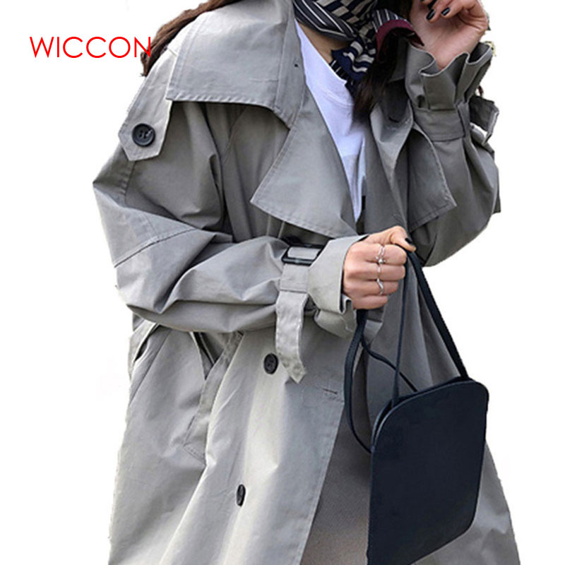 Women Autumn Korean Windbreak 2019 Fashion Double Breasted Mid-long   Trench   Coat Mujer Loose Belt large size Outwear
