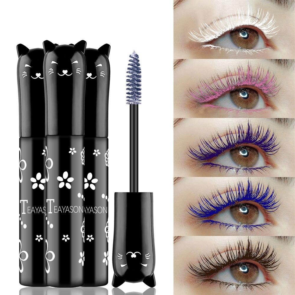 Color Mascara 4D Silk Fiber Lash Mascara Waterproof Fast Dry Eyelashes Extension Curling Lengthening Makeup Eye Lashes TSLM1