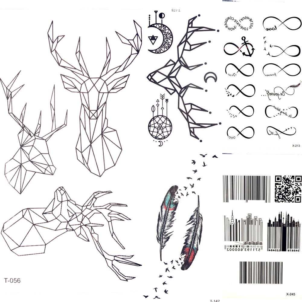 Us 036 Body Arm Art Painting Geometric Small Elk Temporary Tattoo Men Waterproof Moose Deer Tattoo Stickers Women Makeup Tatoos Decals In Temporary