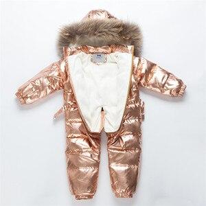 Image 2 -  30 רוסית חורף חליפת שלג פעוט בני בנות 90% ברווז למטה Rompers סרבל ילדי סרבל תינוקות תינוק 1 6 Y Clj311