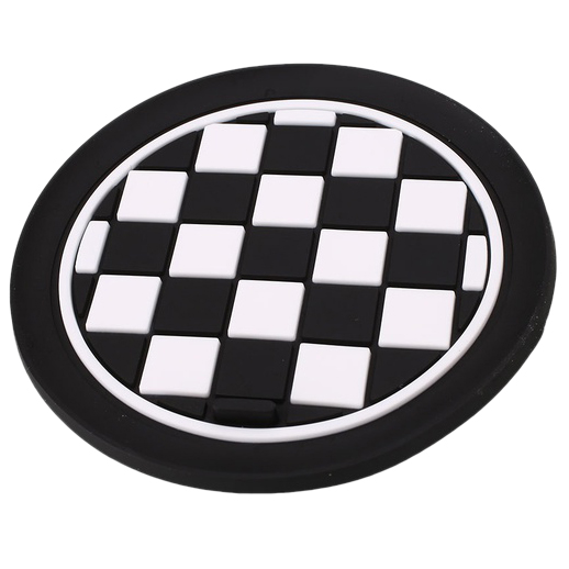 Mini Auto Car Water Cup Bottle Holder Anti-slip Pad Mat 72mm Black and White