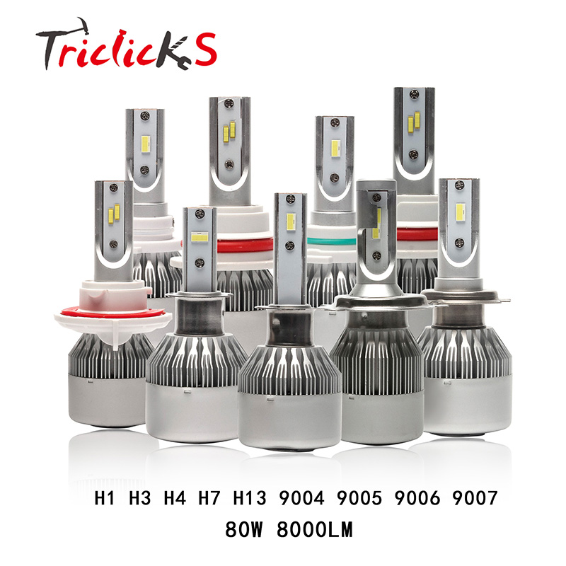 Triclicks H4 H7 H11 H1 H9 H8 H13 9004 9005 9006 9007 880 LED Car Headlights 80W 8000LM Imported Flip Chip Hi-Lo Headlight Bulbs 12v led light auto headlamp h1 h3 h7 9005 9004 9007 h4 h15 car led headlight bulb 30w high single dual beam white light