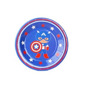 "12pcs/Lot Captain America Theme 7"" Plate Birthday Party Decoration Kids Supplies Favors Event Party Supplies"