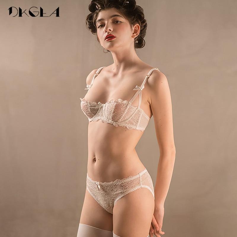 Ultrathin Underwear Set Plus Size 34 36 38 E Cup Sexy Bras Lingerie Lace Women Transparent Bra Set Pink Brassiere Half Cup White
