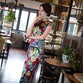 Nueva Llegada de Raso Largo Vestido Elegante Qipao Cheongsam de La Manera Del Estilo Chino de Las Mujeres Vestidos Tamaño Sml XL XXL 246049
