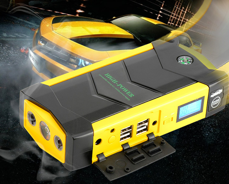 High Power 82800mAh 12V Car Jump Starter 4USB battery charger for auto vehicle starting &Laptop Power Bank(Yellow) practical 89800mah 12v 4usb car battery charger starting car jump starter booster power bank tool kit for auto starting device