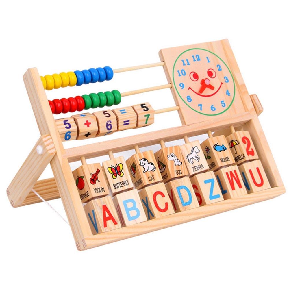 Children Kids Versatile Flap Abacus Educational Wooden Toys Calculation Frame Letter Alphabet Digital Number Alarm Clock(China)