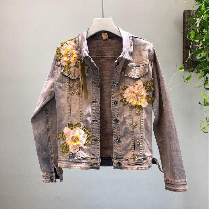 Rétro Mode Automne Dimensions Fleurs Court Manteau Perle Jeans Skinny Slim Femme Vestes Bleu Lourd Trois Denim En 2018 Nouvelle Style MqzVSUp