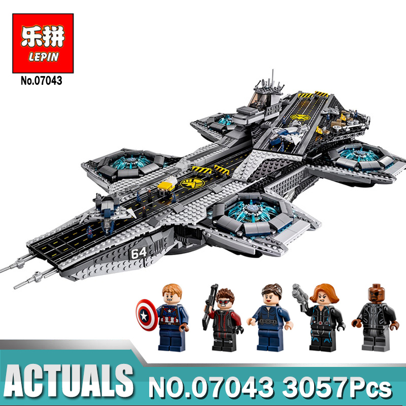 Lepin 07043 Super Heroes The Shield Helicarrier Model Building Kits Blocks Bricks Toys Compatible Legoing 76042 lepin movie pirate ship metal beard s sea cow model building blocks kits bricks figures toys compatible legoing