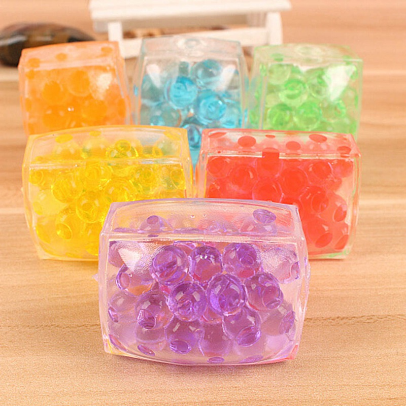 6cm New Creative Colorful Beads Soft Square Tofu Kids Adult Novelty Anti Stress Hand Finger Educational Toys Christmas Gifts