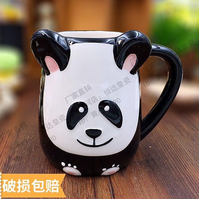 500ML Cute Animal 3D Panda Cow Coffee Cup Large Capacity Hand Painted Cartoon Ceramics Breakfast Milk Mug and Cups Free Shipping