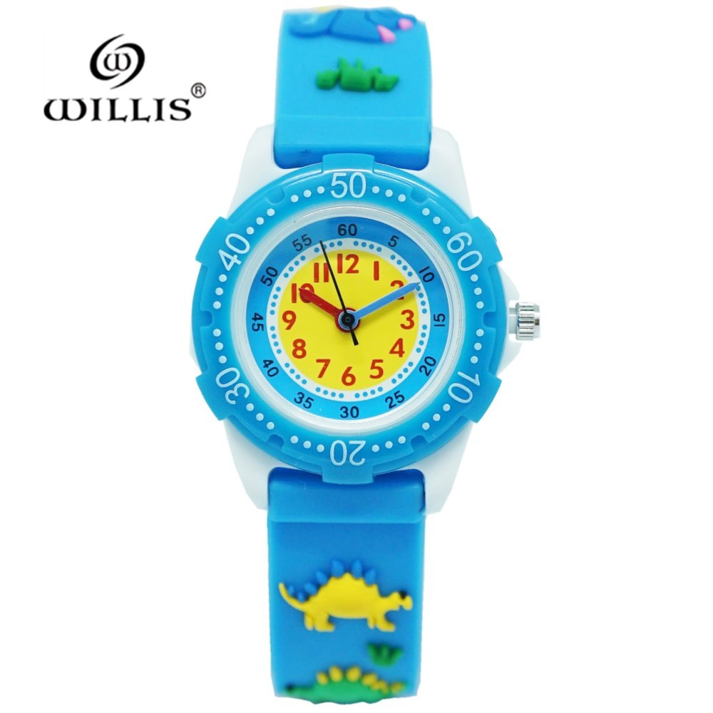 WILLIS Brand Silicone 3D Latest Watches Style Quality Waterproof Kids Watch Dinosaur Strap Design Watches Students Boy Children