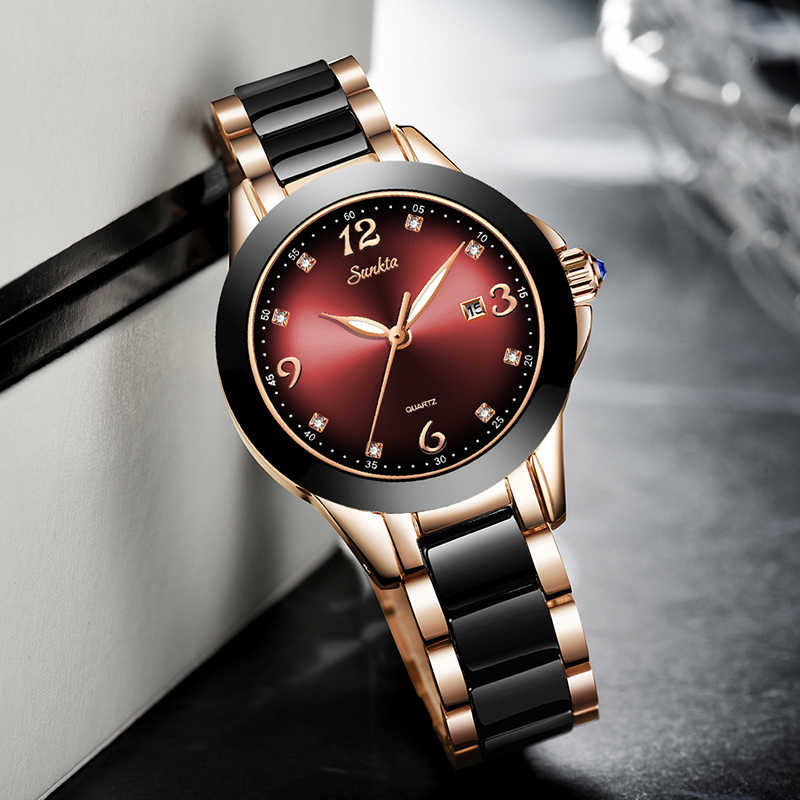 Relogio Feminino SUNKTA ผู้หญิงนาฬิกากันน้ำยี่ห้อ Luxury นาฬิกาผู้หญิงเซรามิคและโลหะ Relojes Para Mujer