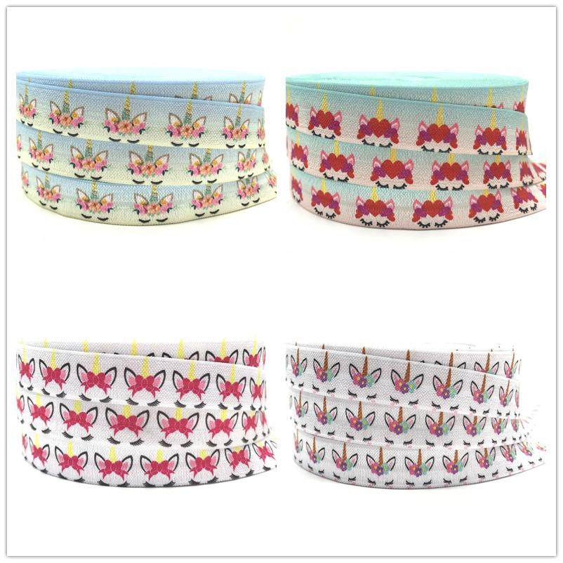 New 50Yards Rainbow Unicorn Print Fold Over Elastic FOE Ribbon For DIY Sewing Headwear Party Decorations Wholesale