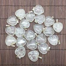 Moda kamień naturalny serce naszyjnik z koralików DIY kolczyki 20mm serce urok srebrny biżuteria kryształ górski