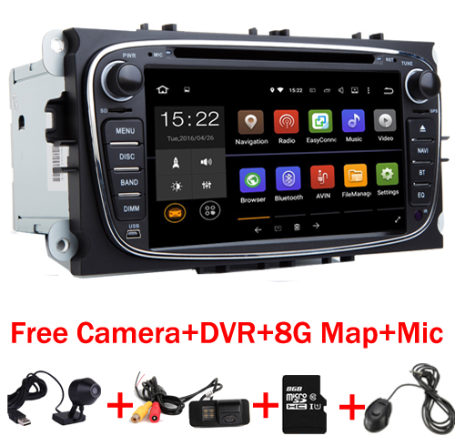 7 HD Quad Core 2din Android 7.1 Car DVD for Ford Mondeo C-max, S max Galaxy Wifi 3G GPS Bluetooth Radio Canbus Free Camera+DVR