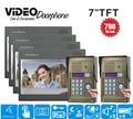 "ZHUDELE 7"" LCD 2v4 Touch Button RFID+passowrd 700 TV Line IR Camera Video door Intercom phone door bell camera in stock"
