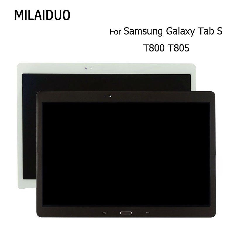 10.5 For Samsung Galaxy Tab S T800 T805 LCD Display Touch Screen with Digitizer Assembly Replacement Parts Original White Gold