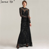 Sexy Backless Long Sleeve Sheer Mermaid Evening Dresses 2018 New Fashionable Black Floor Length Party Gown BLA6264