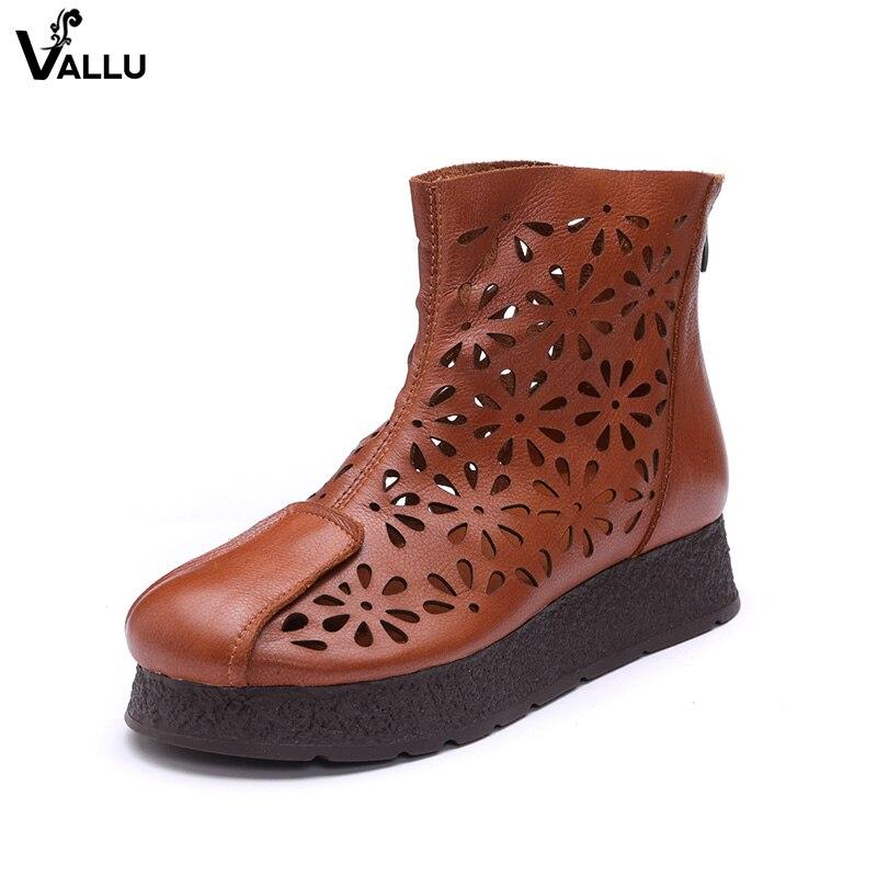 Calado Mujer Mujeres Plana Zapatos Bien Marrón Suave Plataforma Las A Mano Hecho Genuino Cremallera Tobillo Botas Cuero De Para OxznfPw