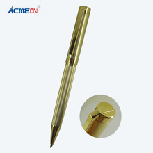 ACMECN New Arrival Gold Ball Pen with Hi-Tech Carved Thread Pattern Spring Clip Metal Brass Plating Silver Premium Ballpoint