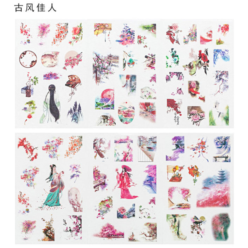 6 Sheets/pack Ancient Pink Cherry Label Stickers Set Decorative Stationery Stickers Scrapbooking Diy Diary Album Stick Lable