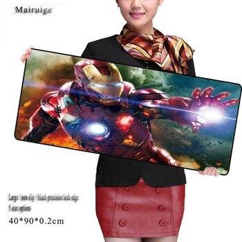 Mairuige Iron Man 900*400mm Large Gaming Mouse Pad Gamer Locking Edge Mouse Keyboards Mat Grande Mousepad for CS GO Dota 2 LOL цена 2017