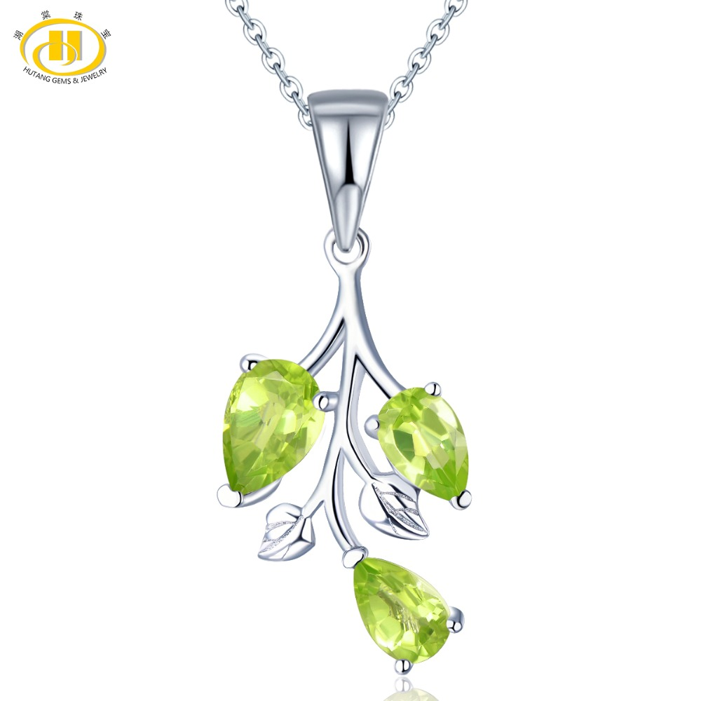 Hutang Peridot Pendant Solid 925 Sterling Silver Natural Gemstone Necklace Fine Elegant Classic Jewelry for Women Girl Gift New