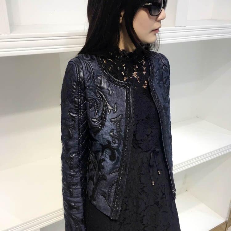 2018 Autumn Women Short Leather Jacket O-Neck Stitching Pu Washed Denim Jacket Vintage Retro Slim Basic Jacket Coat