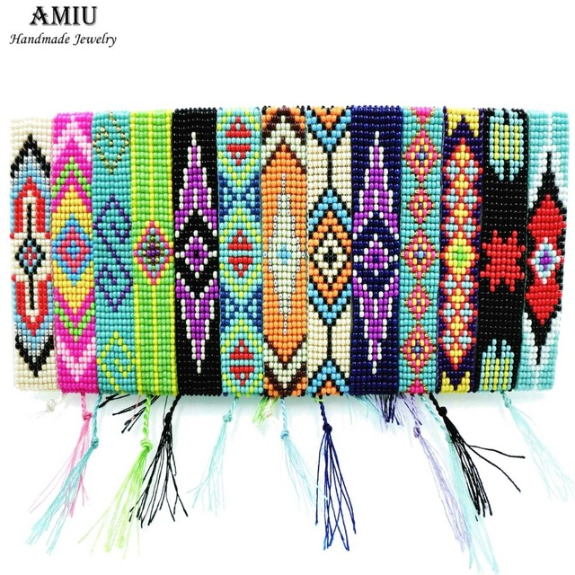 AMIU Handmade Seed Beads Friendship Bracelet Beaded Custom Mix-Colour Eye Friend
